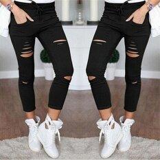 0c37584a1a27 Fashion Women Ripped Holes Capri-pants Pencil High Waist Pants Skinny  Trousers Black