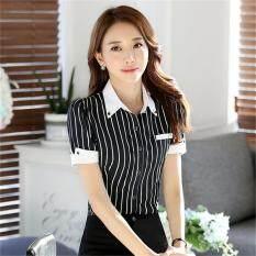 1c76cbe1fe02a5 Fashion Women Shirt OL Professional Slim Stripe Blouse Office Ladies  Elegant Work Wear Tops