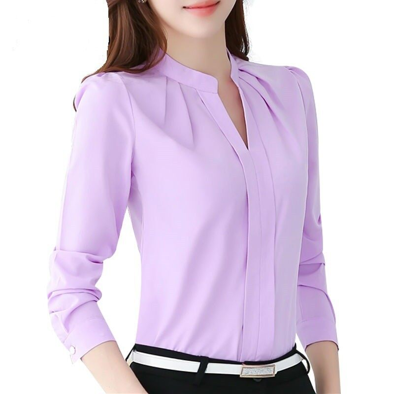 Fashion Women Tops Long Sleeve Casual Chiffon Blouse Female V-Neck Clothes เสื้อเบลาส์และเสื้อเชิ้ต