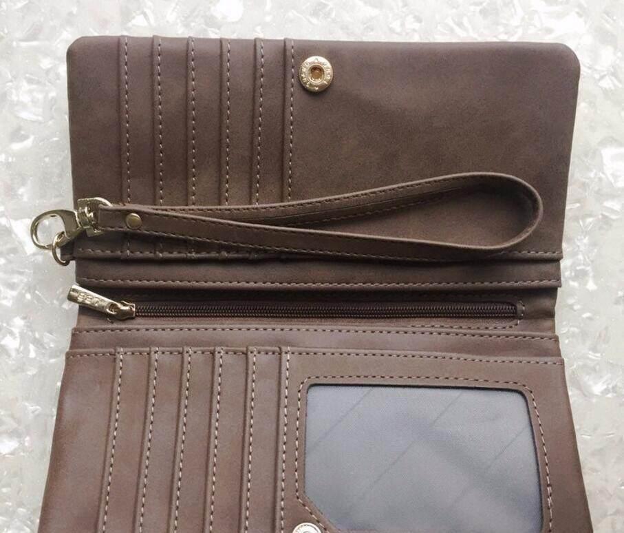 High Quality Fashion Women Wallets Long PU Zipper Long Wallet Female Clutch Coin Purse,Brown