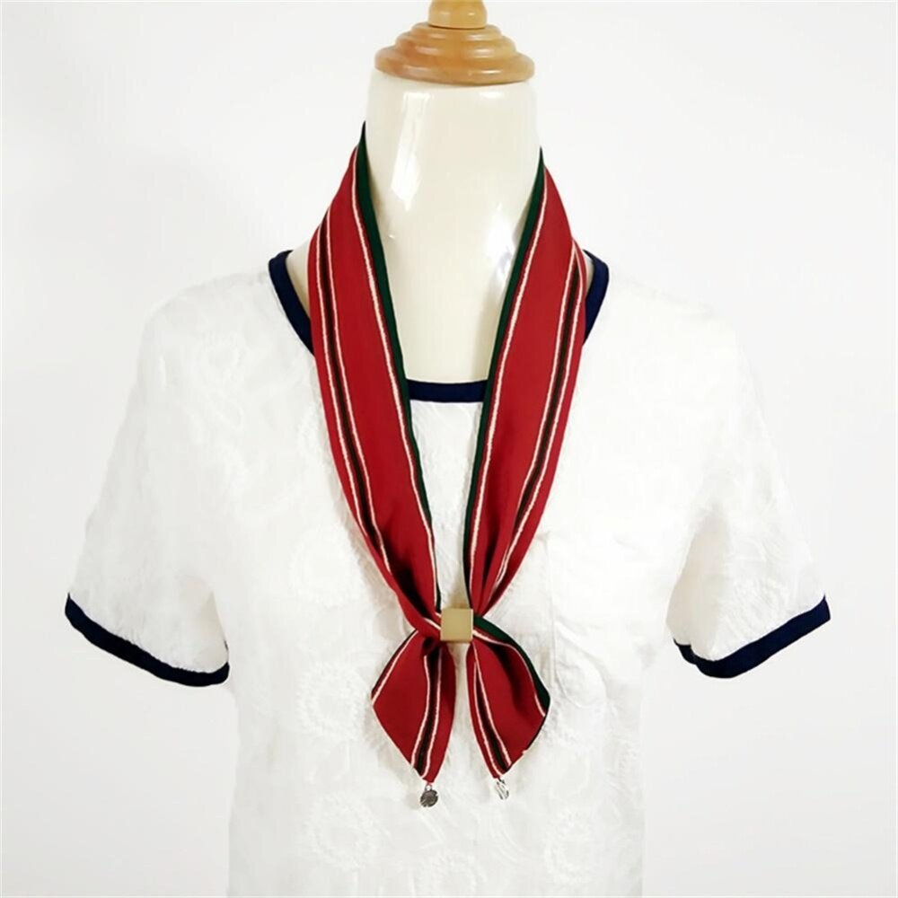 LONGER WIN Fashion Women's Scarf Printed Multi Way Brass Buckle Scarves Decoration for Bag Handle Wrap Color:Red green stripe Size:90*5cm