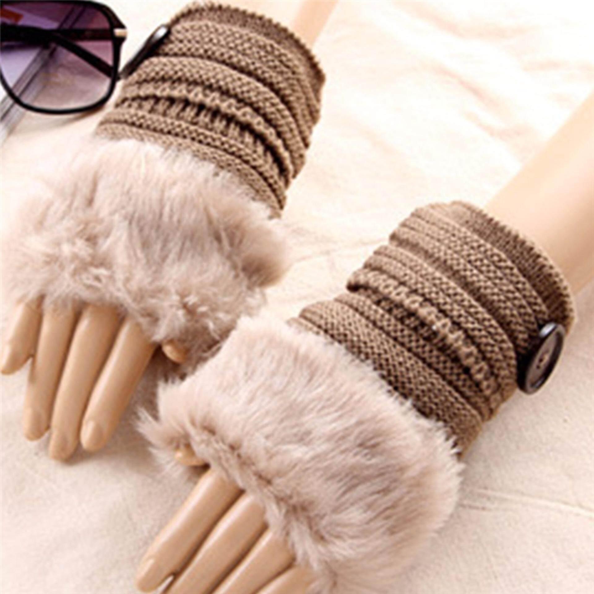 Xiner Fashion Wanita Cute Rajutan Tanpa Jari Sarung Tangan Musim Dingin Lembut Hangat Sarung Tangan Khaki