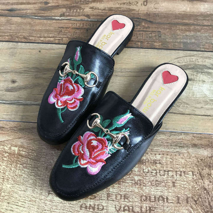 Men's/Women's - - - Faux Leather Loafer Mules Fla Embroidery Rose Almond Toe, High-Poli Bit Buckle With An Open Back  - Outstanding Characteristics adaa6c