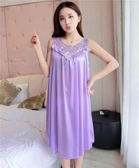 4bd9cd0fd Female Pajamas Silk Nightgown Summer Lingerie Lace Decorated Sleep  Loungewear ...