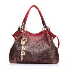 Female PU Leather Handbag Hollow out Bags Shoulder Bag Color Gradient Tassel Bag Red