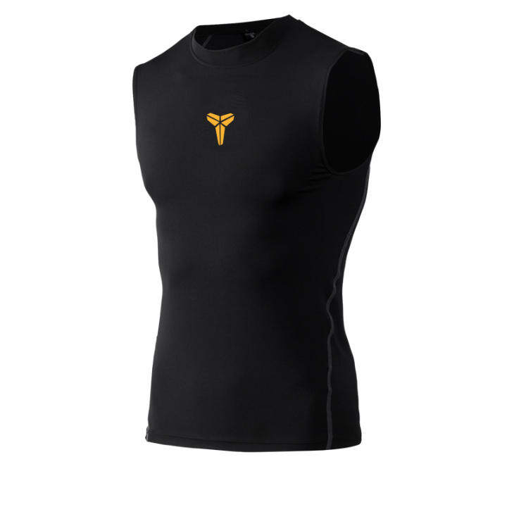 Men's Compression Fit Quick Dry Sports Top (Kobe Bryant black waistcoat) (Kobe Bryant black waistcoat)
