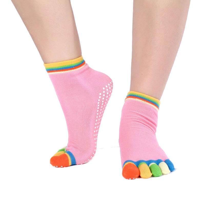 Hình ảnh Five Finger Toe Sport Yoga Anti Skid Slip Socks Pilates Gym Exercise Multicolor - intl