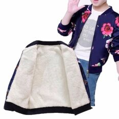 Floral Thickened Warm Girl Casual Outerwear Zipper Jacket Winter Coat Clothing Pink Navy Blue By Ying Jin.
