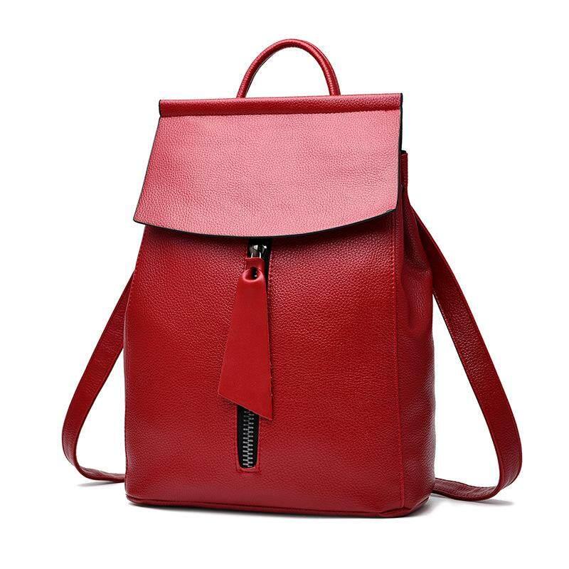 5c4b585c24 Flyone women leather backpack small minimalist solid black school bags for girls  feminine backpack sac a