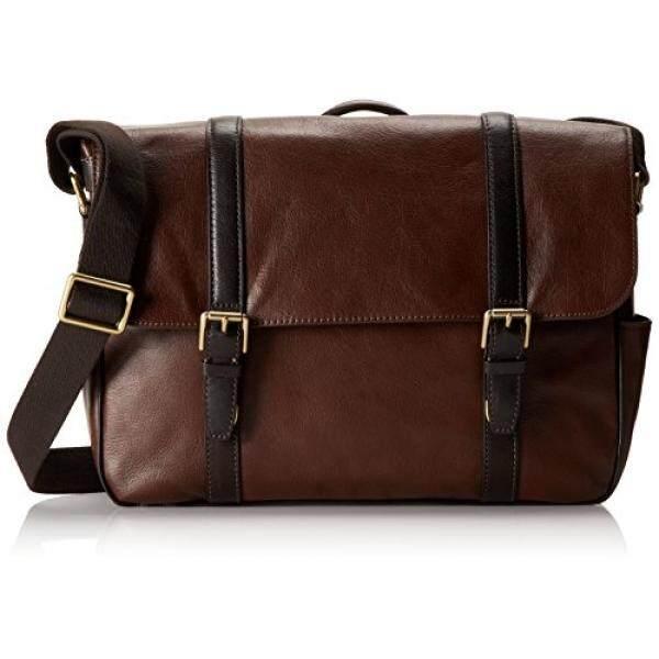 63a43937a1 Fossil Mens Estate Leather East-West Messenger Bag, Dark Brown - intl