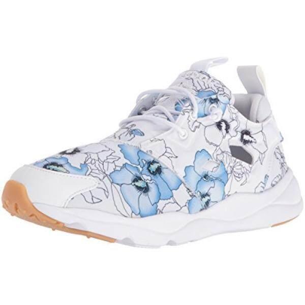 Dari Amerika Serikat Reebok Wanita FURYLITE FG Sepatu Sneaker Modis  Bunga Putih Hitam Karet e2a339605f
