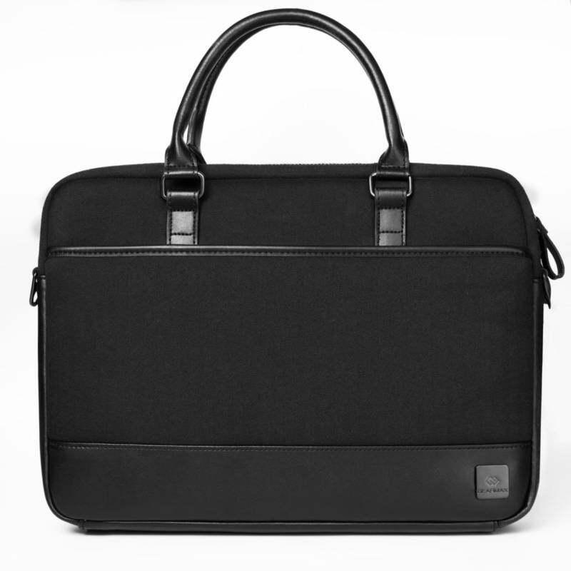 f0b1b9df23f AllCute WIWU Men Business Messenger Bag Black Leather Notebook Bag Wool  Felt Business Laptop Briefcase Zipper