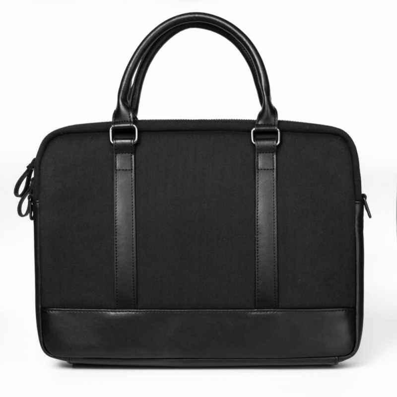 NiceSky WIWU Men Business Messenger Bags Black Genuine Leather Notebook Bag Wool Felt Business Laptop Briefcase Zipper Shoulder Bag(Black)