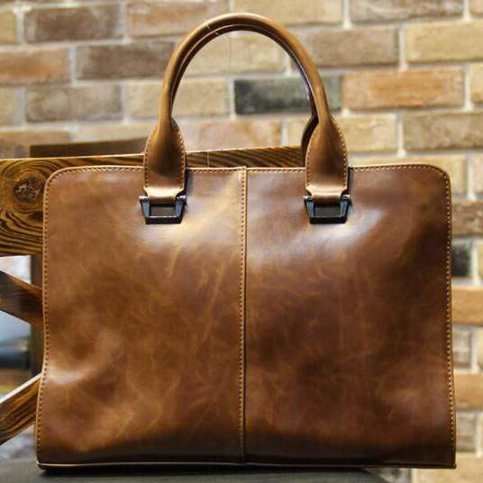 100% Genuine Cow Leather Business Bags Men s Briefcases Men s Handbags Men s Bags Computer Bags - intl