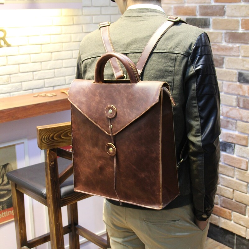 100% Genuine Cow Leather Backpacks Fashion backpack men and ladies backpack  leisure travel bag computer c471068e661f4