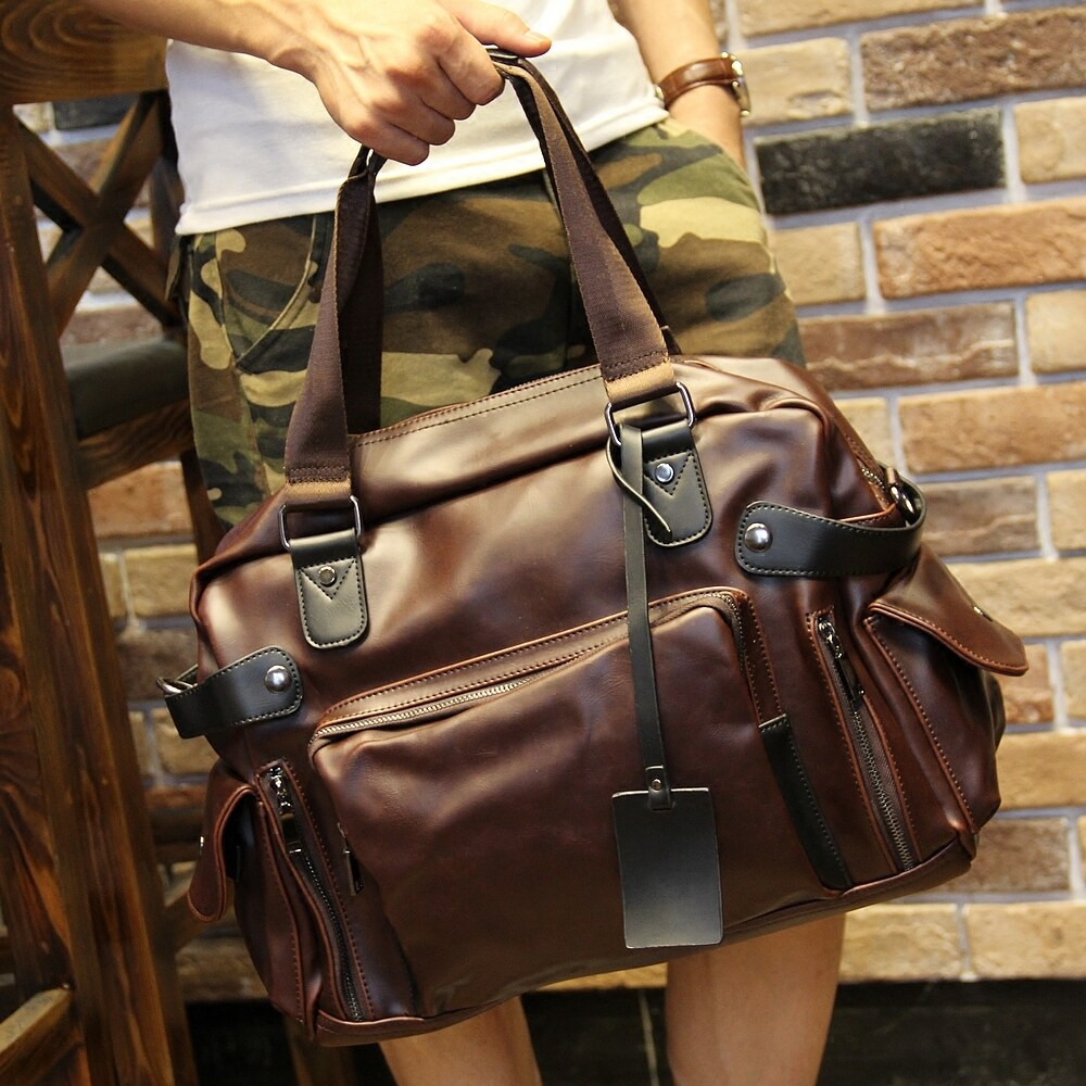 fc175f1fc4be 100% Genuine Cow Leather Tote Bags Men s Shoulder Bags Outdoor Travel Bags  Leisure Bags Backpacks