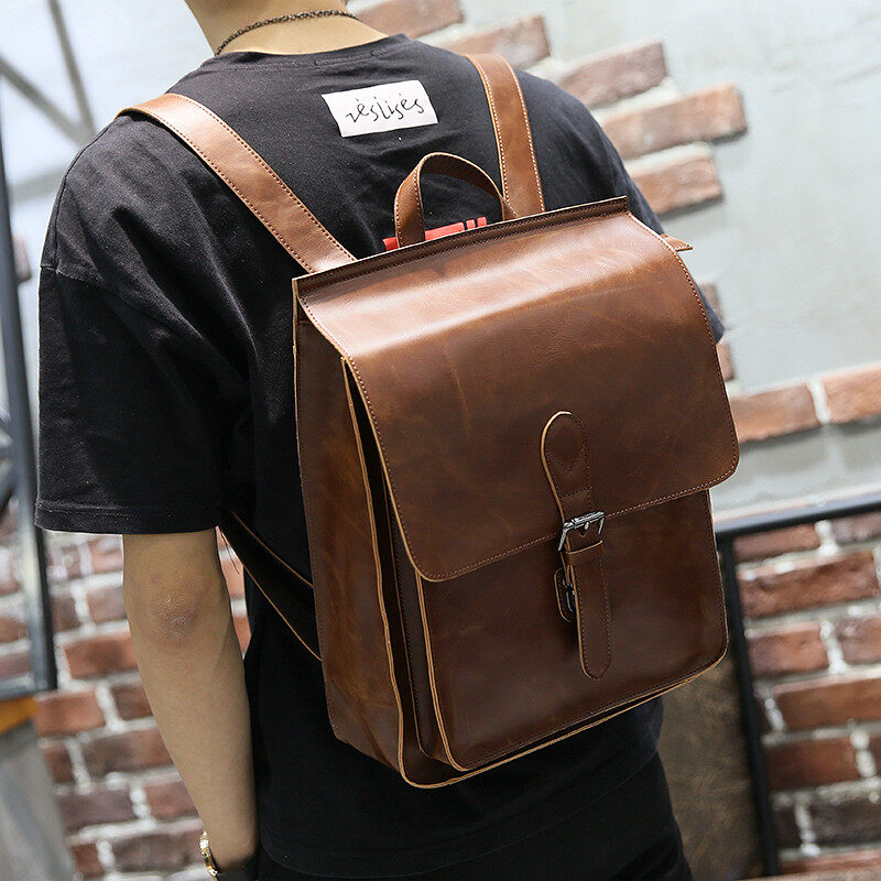 63d8a8b260e Genuine Cow Leather Backpacks Multifunctional shoulder bag wild fashion  simple student bag leisure men and women