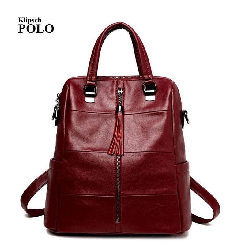 Genuine Leather Backpacks Women School Style Sheepskin Travel Bag Real Leather  Backpack Female Brand Designer - 134531f2f5ff3