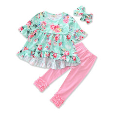eb68553fe83c4 Girls Clothing Sets Floral Print T-shirt+pink Pants+headband 3pcs Baby Girl
