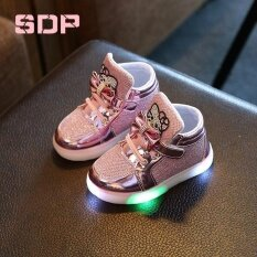 Giá bán Girls Shoes Little Girls Princess Children Shoes with Light Baby Fashion Hook Loop Led Shoes Kids Light Up Glowing Sneakers(EU SIZE 21-30 /Pink) - intl