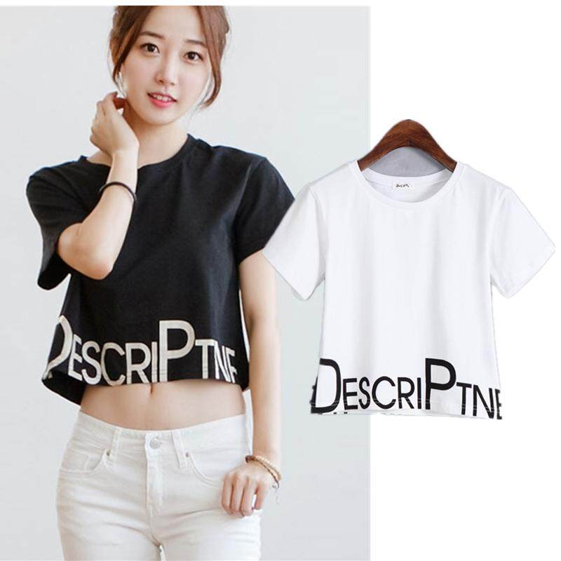 ebca64aaf629f Girls Summer Short T-shirts Causal Loose Crop Tops Woman Fashion Cotton  Letter Tee 2018