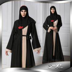 Grandwish Women Muslim Wear Long coat lace design Robe S-XL (Black) 8b9160883d