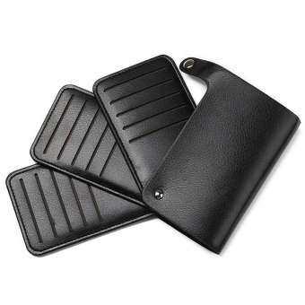 Gubintu ธุรกิจผู้ชายหนังผู้ถือบัตรกระเป๋ากระเป๋ากระเป๋าสตางค์ป้องกันสำหรับ 30 บัตรสีดำ