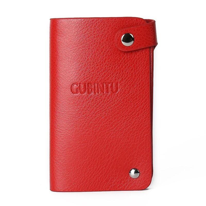 GUBINTU Business Men Leather Card Holder Pocket Purse Wallet Protector for 30 Cards Red