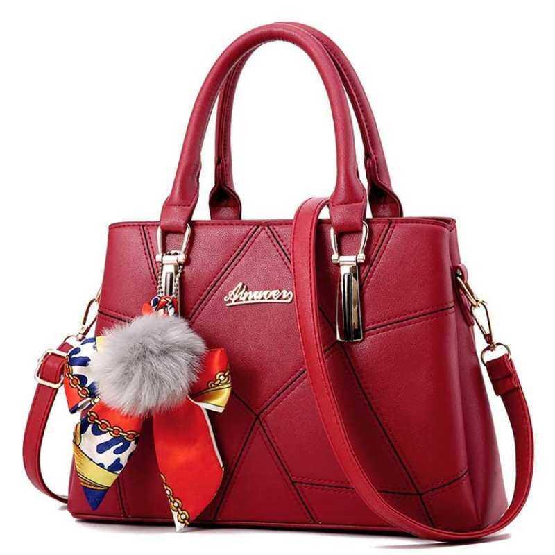 HHS86JUS Tas untuk Mode untuk Wanita Wanita Manis Kulit Tas Pundak Tas Merah Anggur Tangan Atas