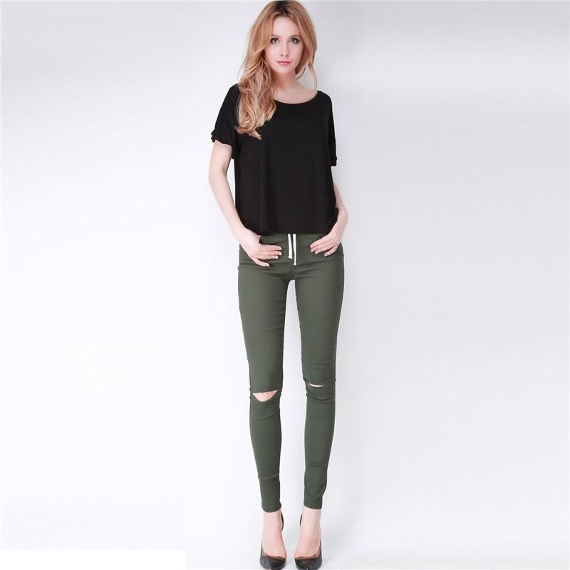 Hang-Qiao Summer Women Exposed Knee Holes Feet Pants Skinny Leggings (Army Green)