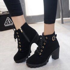 fe8bcd250327 Autumn Winter Women Lady PU Leather High Heel Martin Ankle Zipper Boots  Shoes Black