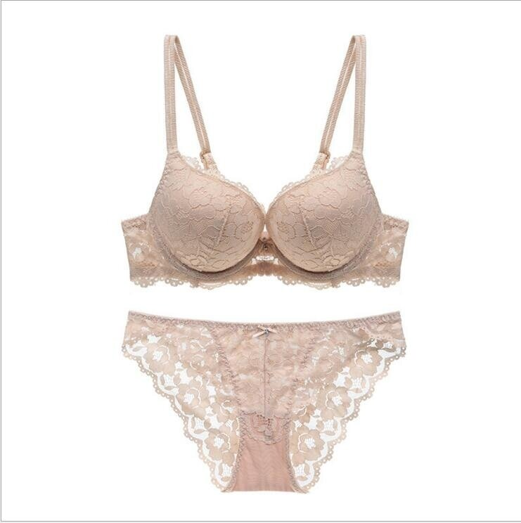 42c49b1b3c4 HGHISYU 2 pieces HOT 2017 embroidery flowers thin thick double shoulder  strap thickening underwear set deep