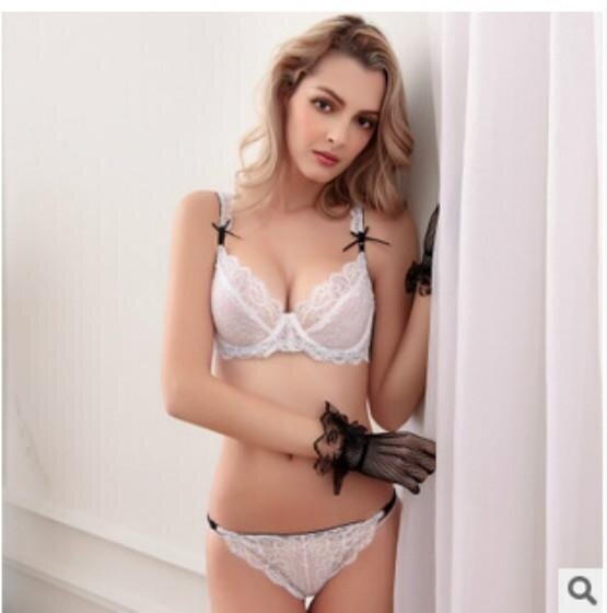 7802acdcea49c HGHISYU Bra Set Promotion Ultra-Thin floral transparent lace bra Embroidery  Deep V Women s Underwear