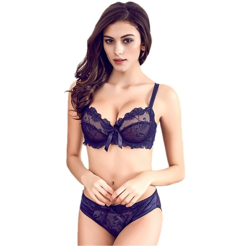 7a2dc856233 HGHISYU Hot Free Shipping Fashion transparent bra set plus size Women gauze  embroidery ultra-thin