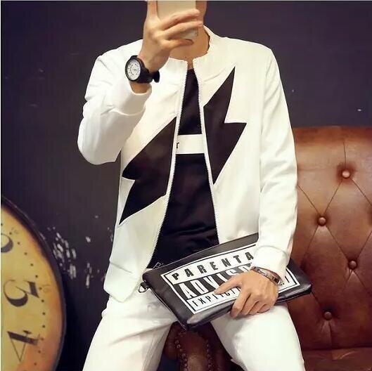 (Kualitas Tinggi, Pengiriman Cepat) Pria Jaket Kasual. Zip-Up Cardigan Jaket, Ruang Mantel Katun (Putih)-Intl