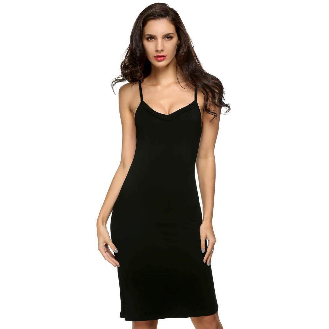 High Quality Sunwonder Ladies Women S*Xy Strap Slip Sleeveless V Neck Casual Solid Bottoming Straight Dress Intl Price
