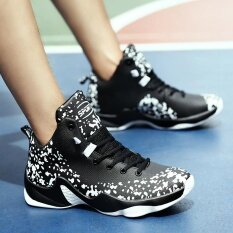 【High Quality】Men's Fashion High-Cut Basketball Shoes ,Lace-Up Comfortable Breathable Basketball Shoes – intl