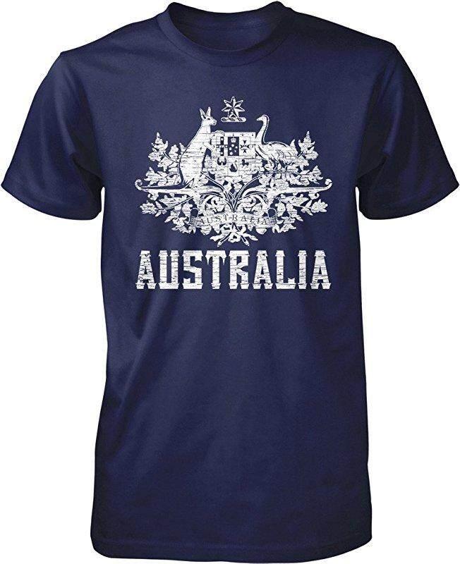 Panggul Hop Australia Mantel dari Arms South Wales Victoria Queensland Kustom Modis Kausal Katun Pria Lengan Pendek Leher-o T Kaus biru Laut-Internasional
