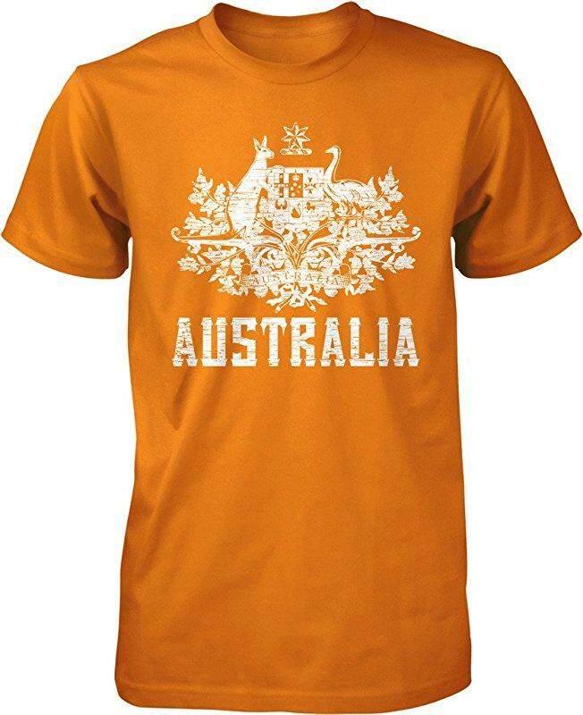 Panggul Hop Australia Mantel dari Arms South Wales Victoria Queensland Kustom Modis Kausal Katun Pria Lengan Pendek Leher-o T Kaus oranye-Internasional