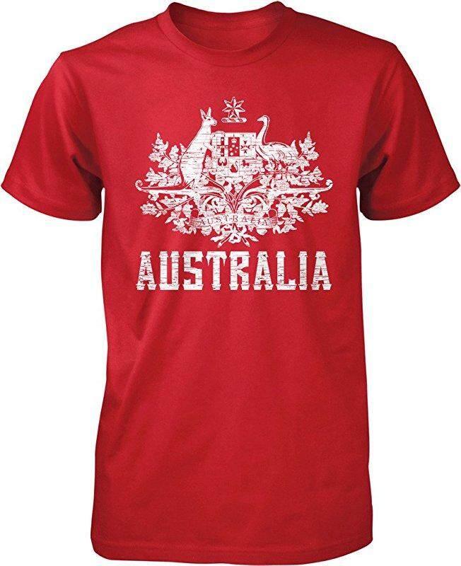 Panggul Hop Australia Mantel dari Arms South Wales Victoria Queensland Kustom Modis Kausal Katun Pria Lengan Pendek Leher-o T Kaus merah-Internasional