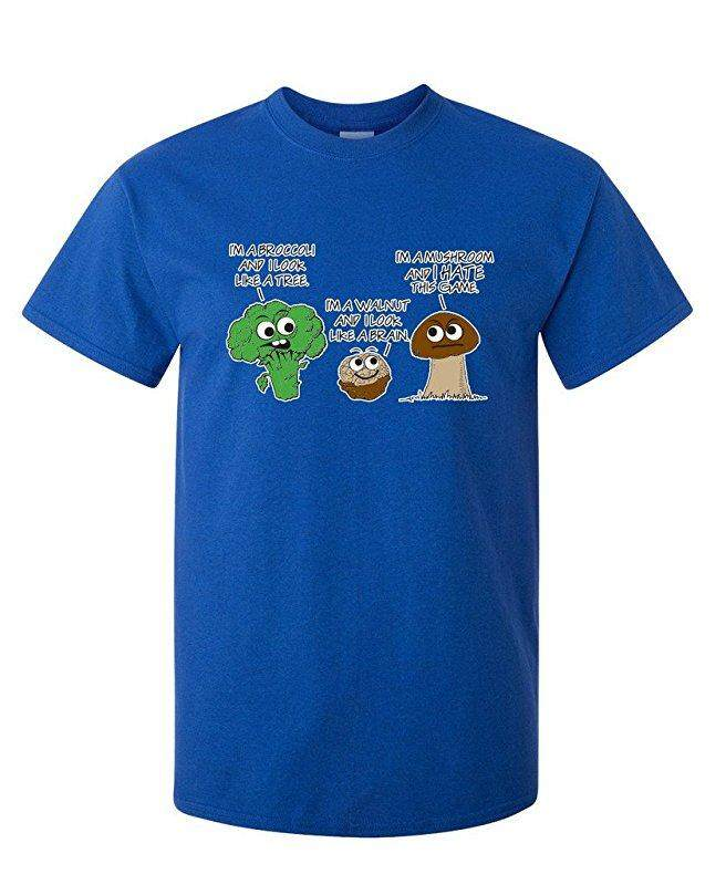 Hip Hop Vegetable Comparison Game Adult Humor Graphic Very Custom Cotton Mens Short Sleeve Round T Shirts Blue - intl