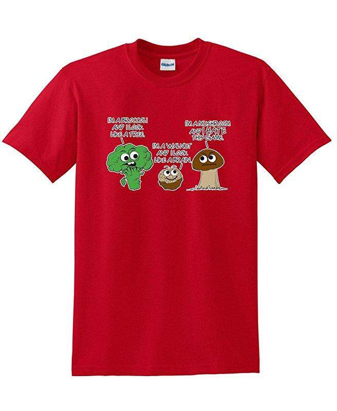 Hip Hop Vegetable Comparison Game Adult Humor Graphic Very Custom Cotton Mens Short Sleeve Round T Shirts Red - intl