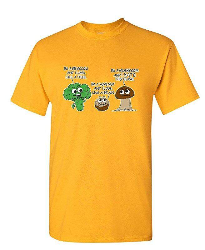 Hip Hop Vegetable Comparison Game Adult Humor Graphic Very Custom Cotton Mens Short Sleeve Round T Shirts Yellow - intl