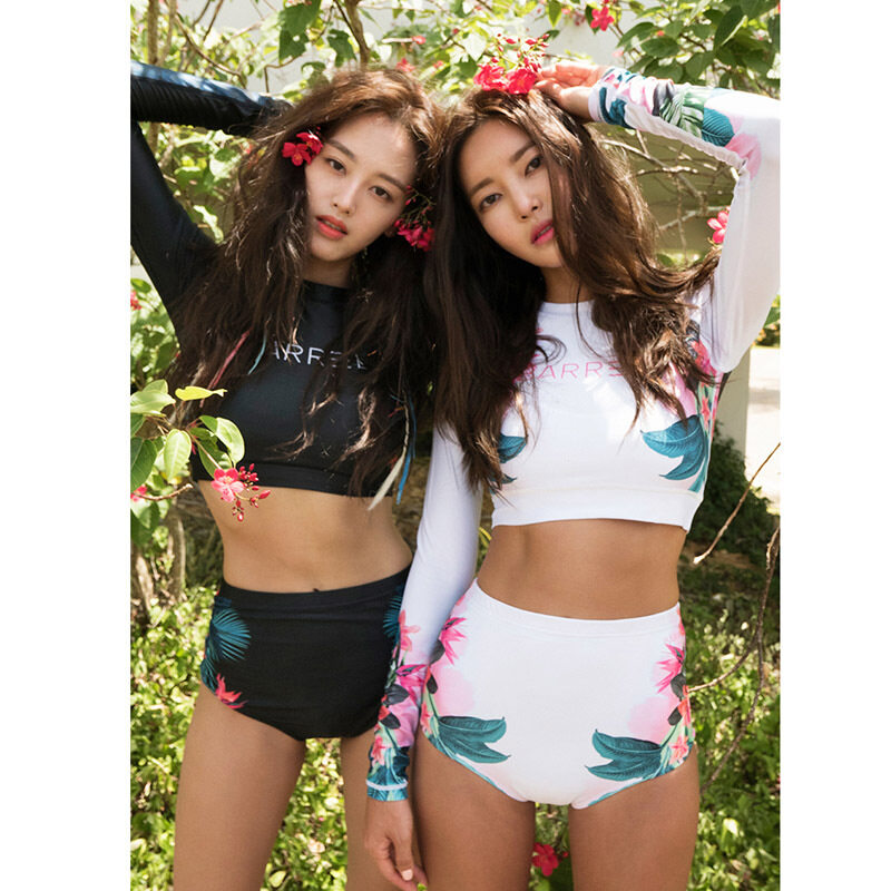 The Cheapest Hk Mall Women Rashguards Long Sleeves Crop Tops Shorts Set Beachwear Surf Lady Water Sports Snorkeling Sunscreen Diving Anti Jellyfish Korea Intl Online