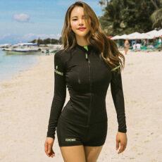 d76d470845 HK Mall Women Rashguards Long Sleeves Tops Shorts Bra 3-pcs Set Sporty  Korean Swimming