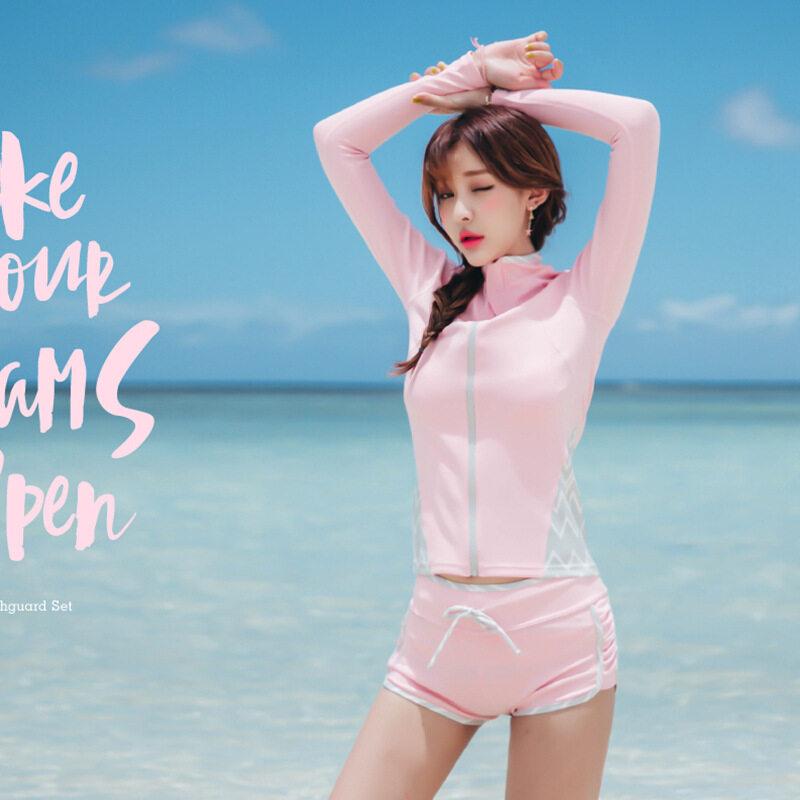 HK Mall Wanita Rashguard Atasan Bottoms 4-pcs Set Baju Renang Wanita Panjang Lengan Mandi Setelan Berselancar Dorong Hingga Spa Matahari Pelindung merah Muda-Internasional