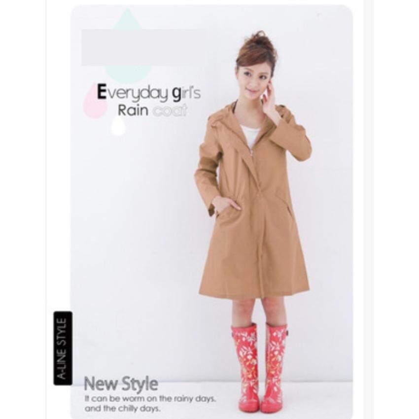 Huade Mantel Model Fashion Jepang Jas Hujan WPC Jaket Dewasa Breathablewaterproof Yu Lama Pi Wanita Wave Titik Bernapas Panjang Bagian (Khaki (Ukuran Cocok untuk Semua)) (Int: M)-Intl