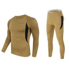 Hot Outdoor Sports Long Sleeves T-Shirt Dry And Tight Pants Perspiration Warm Function Underwear Suit(brown) By Alex Yang Shop.