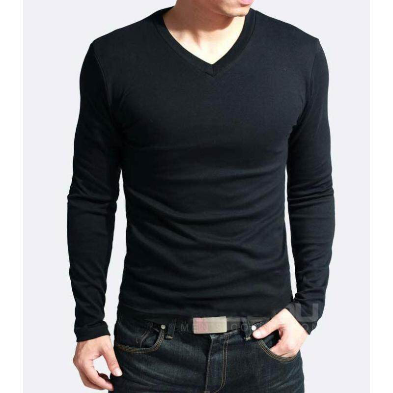 Cocotina Hot Sale New Spring High-elastic Cotton T-shirts Men's Long Sleeve V