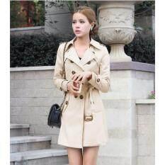 c665bd36a1a Hot Sale Women s Korean Spring Slim Fit Mid Length Trench Coat Ladies  Elegant British Winter Jackets